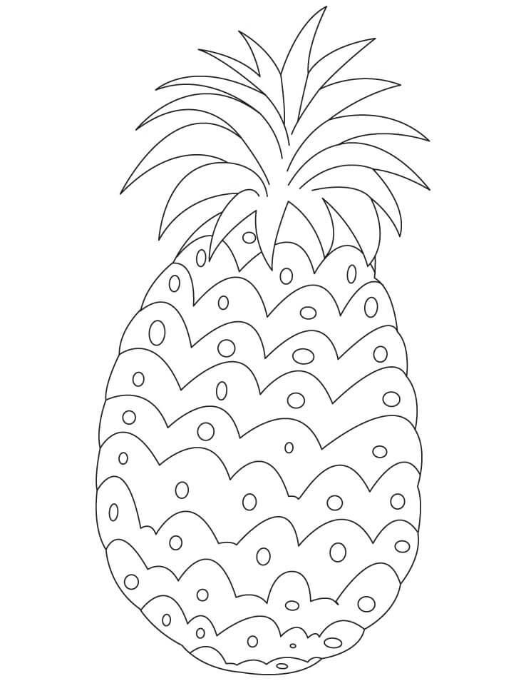 Раскраска простой ананас 2