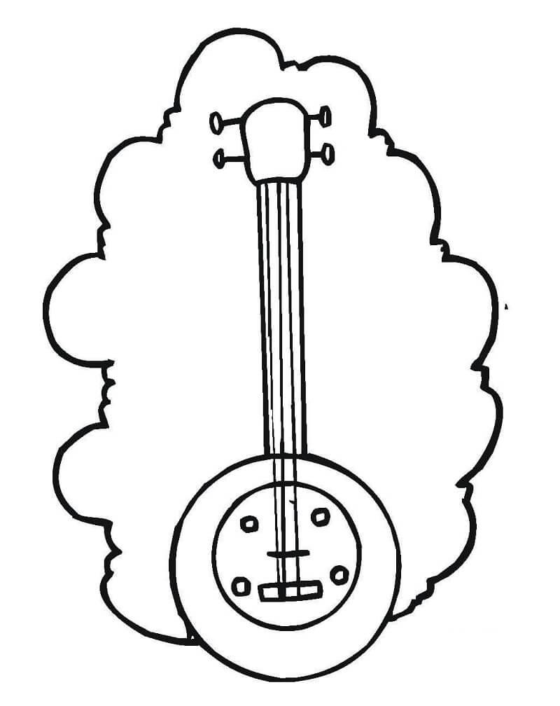 Раскраска простой банджо 2