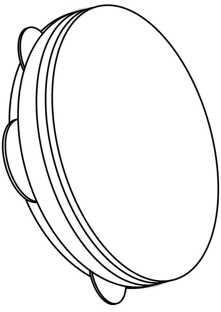 Раскраска простой бубен 1