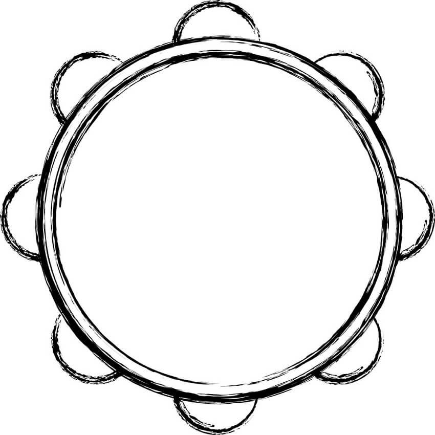 Раскраска простой бубен 2