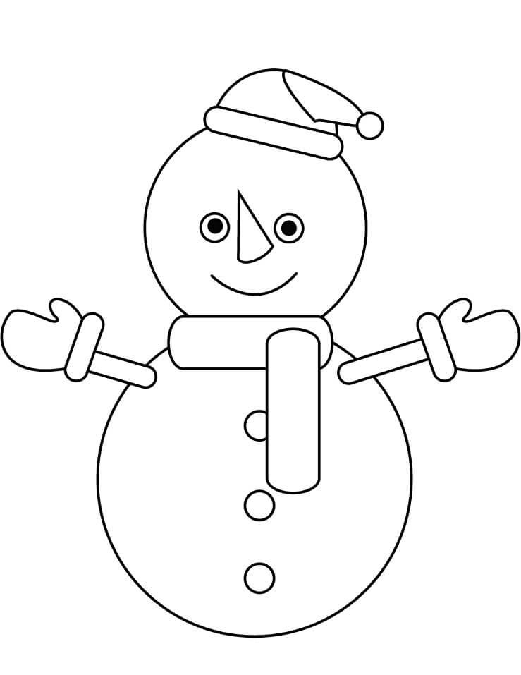 Раскраска простой снеговик 1