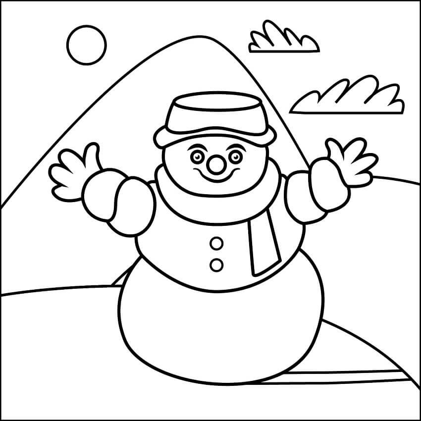 Раскраска простой снеговик