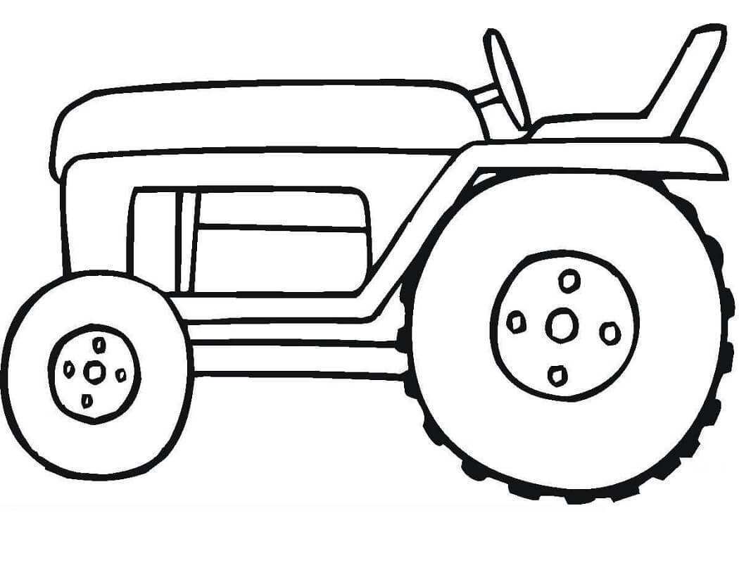 Раскраска простой трактор 2