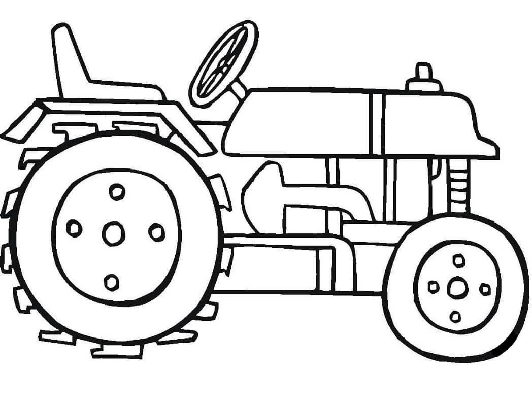 Раскраска простой трактор 4