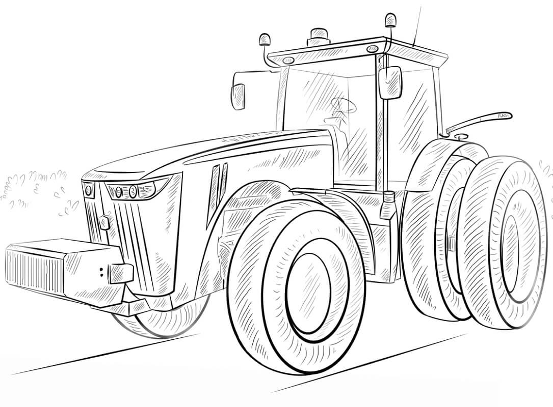 Раскраска простой трактор 5