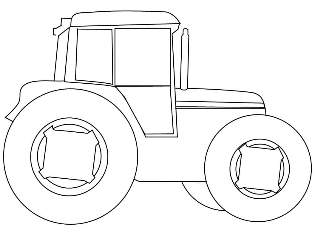 Раскраска простой трактор