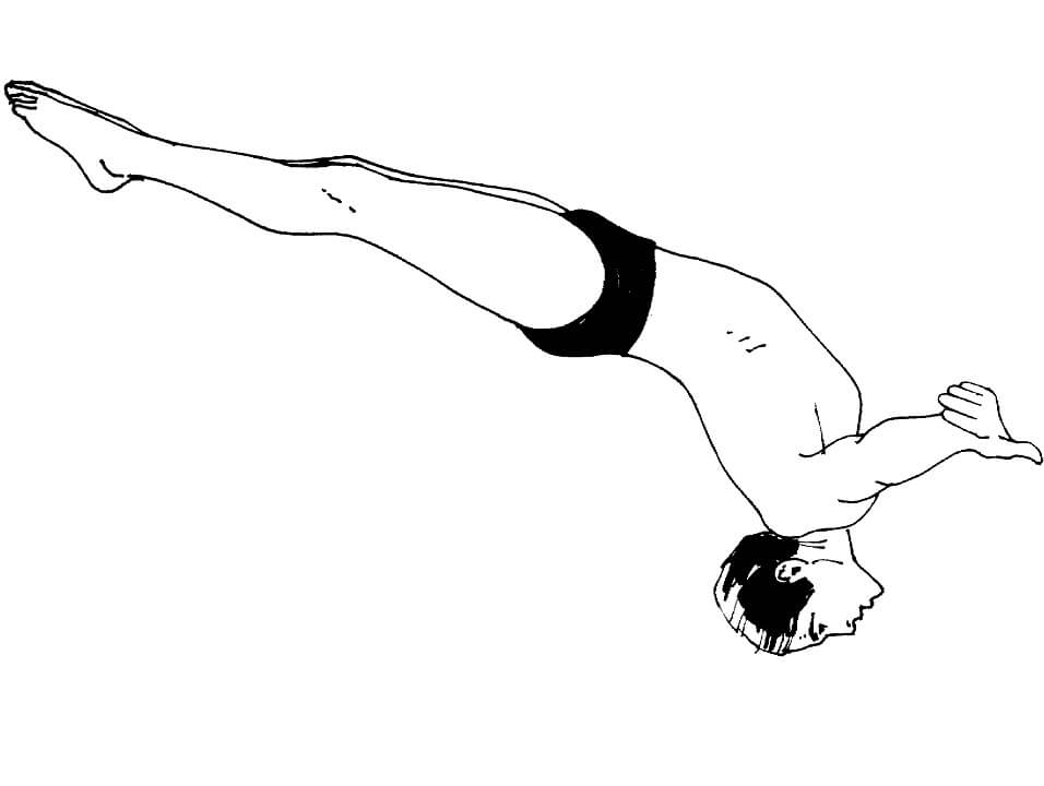 Раскраска Прыжок в воду в задней стойке