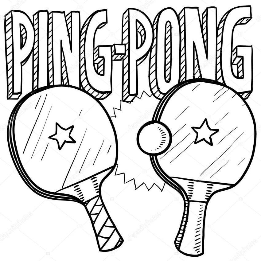 Раскраска ракетка для настольного тенниса 1
