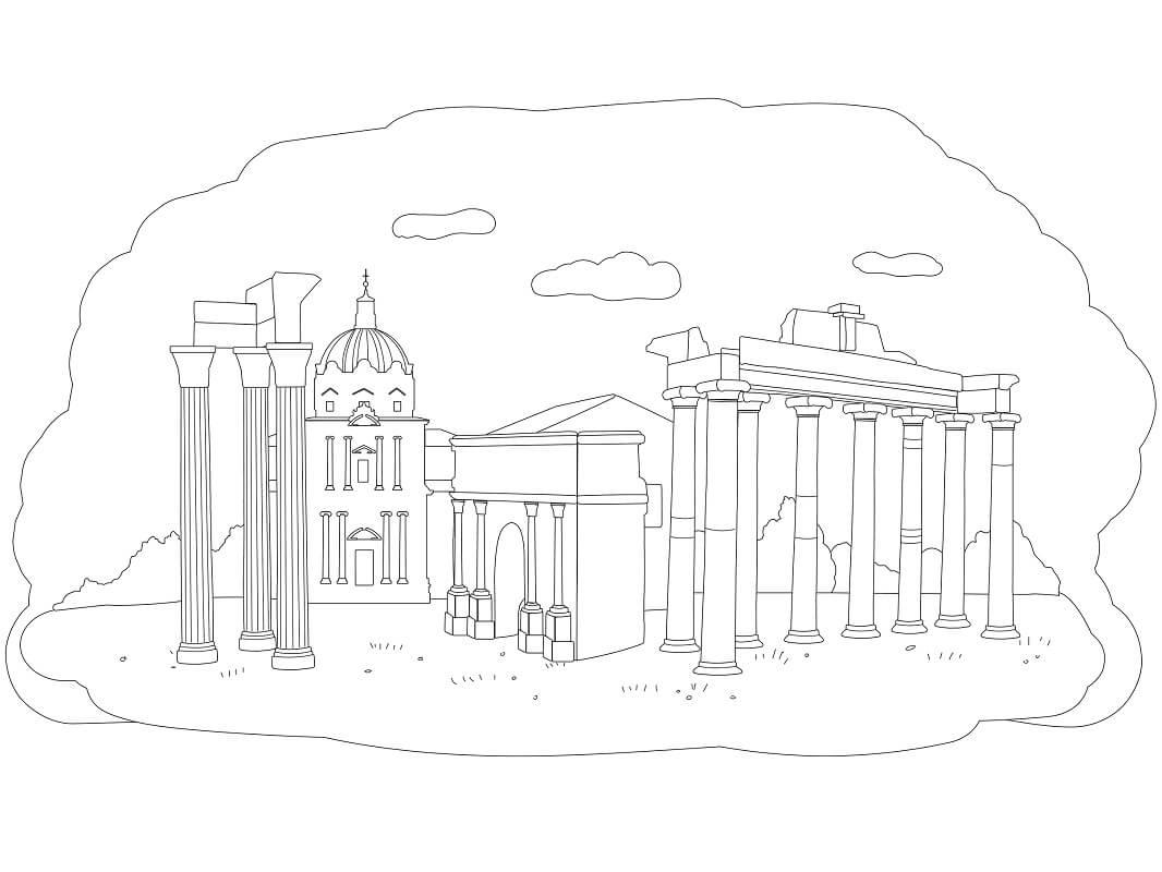 Раскраска Римский форум