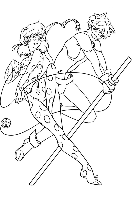 Раскраска Рисунок Леди Баг и Супер Кота