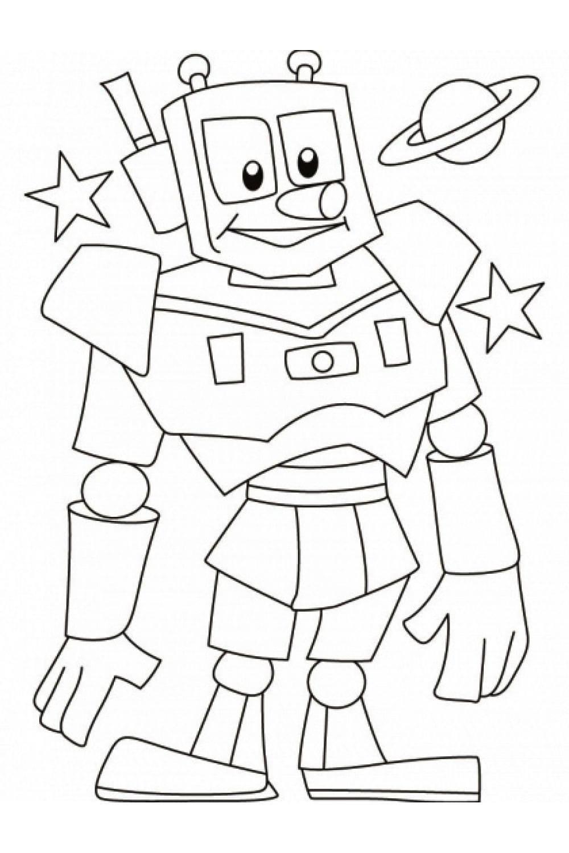 Раскраска Робот и Сатурн