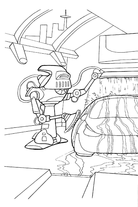 Раскраска Робот моет машину