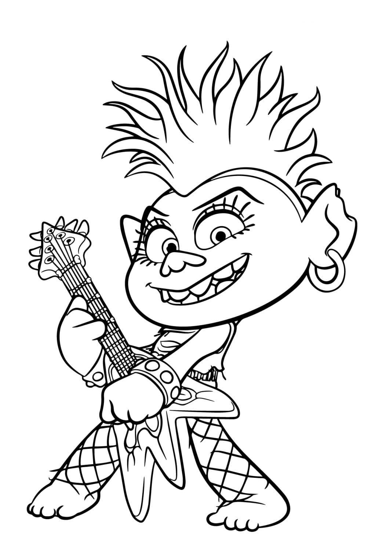 Раскраска Рокс - королева троллей хард-рок