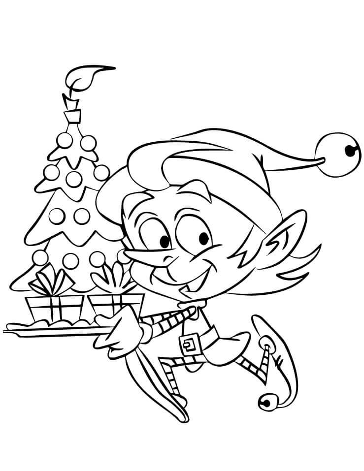 Раскраска Рождественский эльф 4