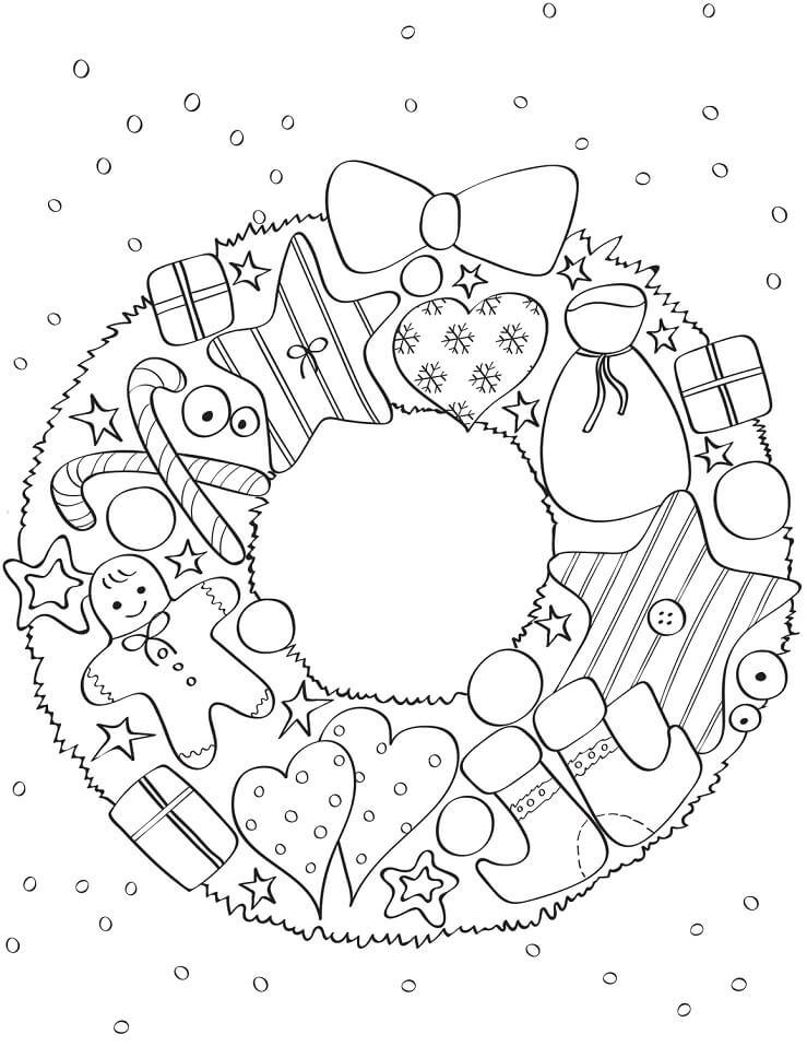 Раскраска Рождественский венок 6