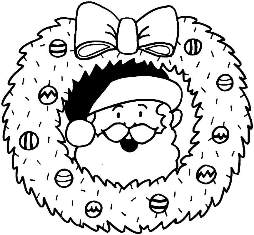 Раскраска Рождественский венок и Санта
