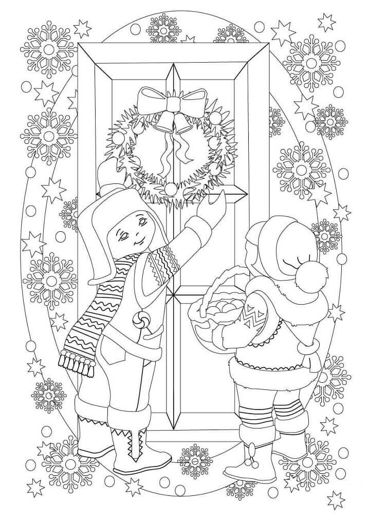 Раскраска Рождественский венок на двери