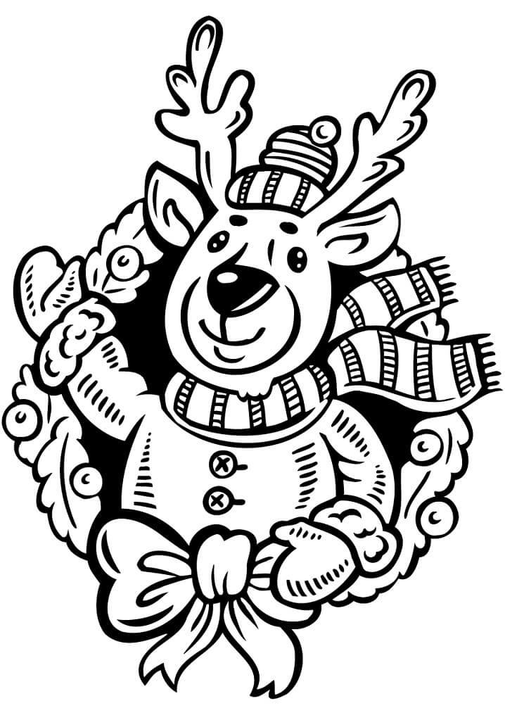 Раскраска Рождественский венок с оленем