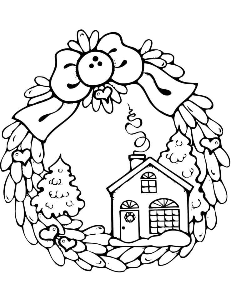 Раскраска Рождественский венок с пряничным домиком