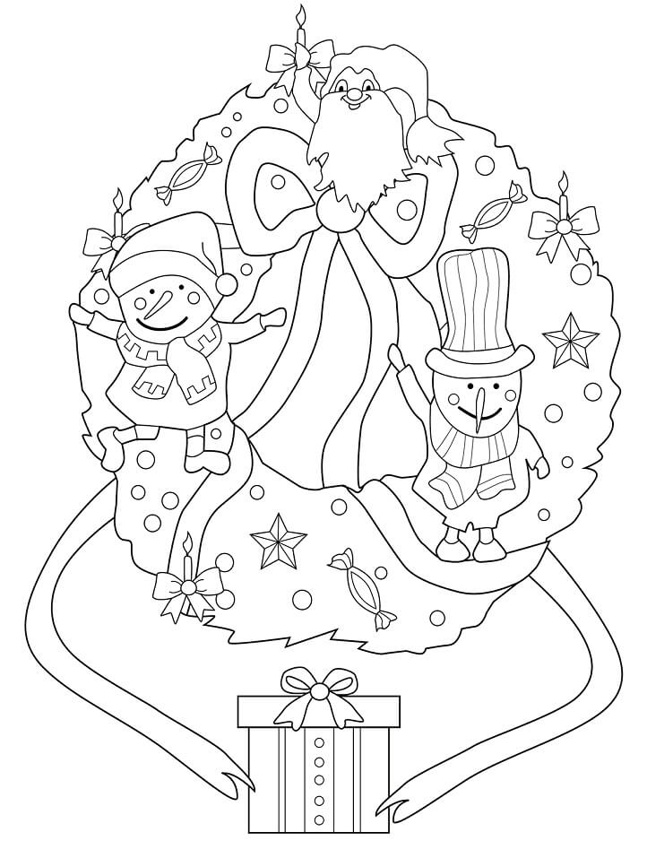 Раскраска Рождественский венок со снеговиками и эльфом