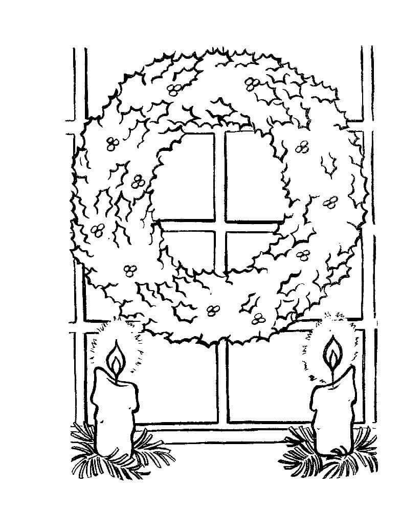 Раскраска Рождественский венок со свечами