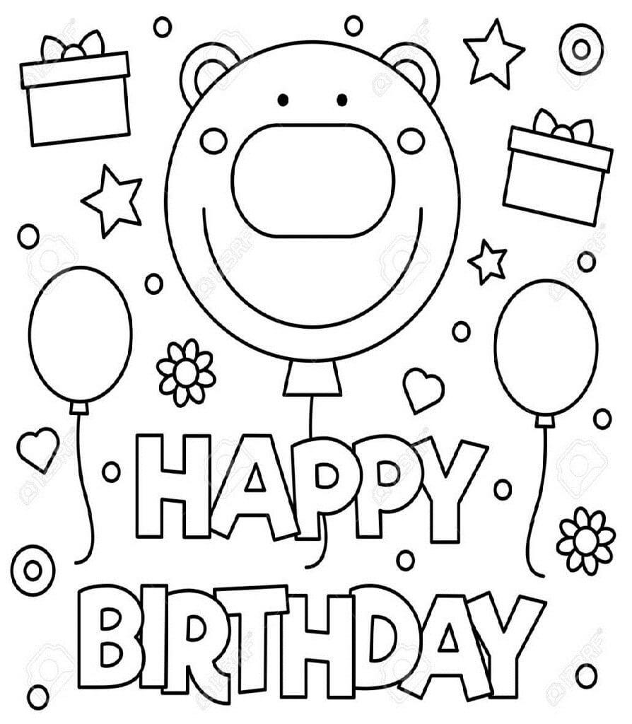 Раскраска с днем рождения 1
