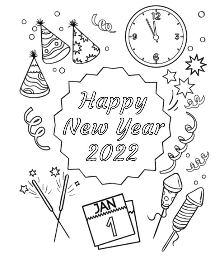 Раскраска С Новым годом 2022 1