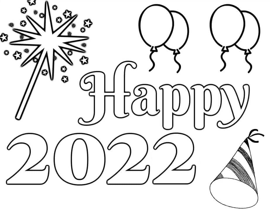 Раскраска С Новым годом 2022 12