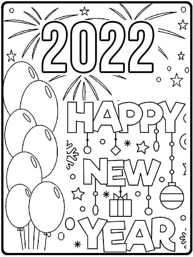 Раскраска С Новым годом 2022 2