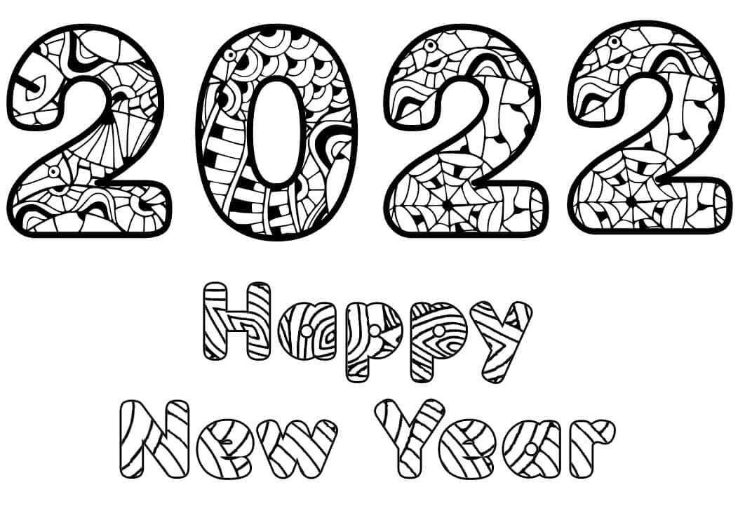 Раскраска С Новым годом 2022 7