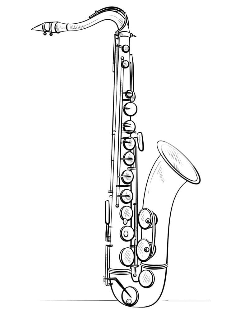 Раскраска Саксофон 10