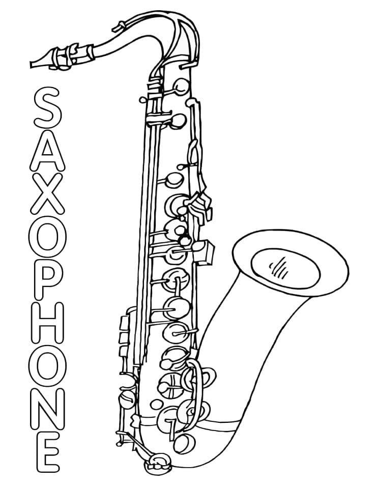 Раскраска Саксофон 3