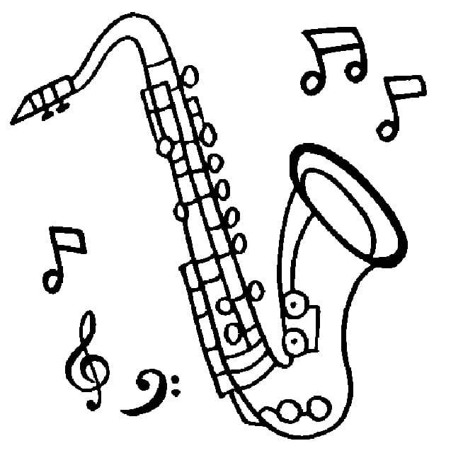 Раскраска Саксофон 7