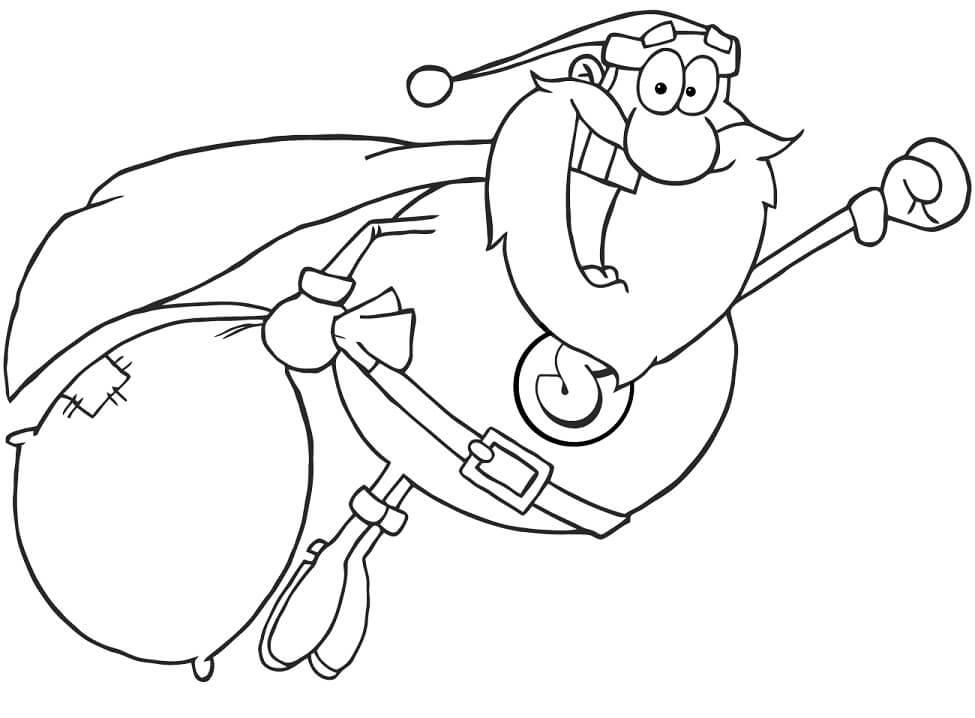 Раскраска санта клаус с мешком подарков 2