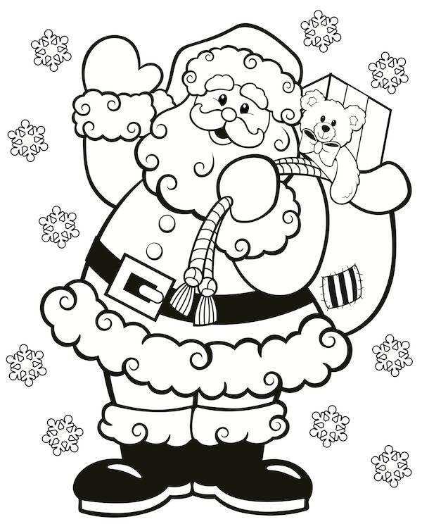 Раскраска санта клаус с мешком подарков 3
