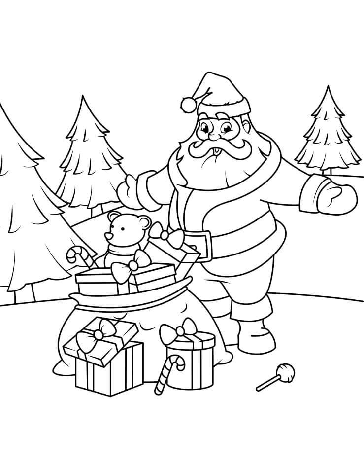 Раскраска санта клаус с мешком подарков