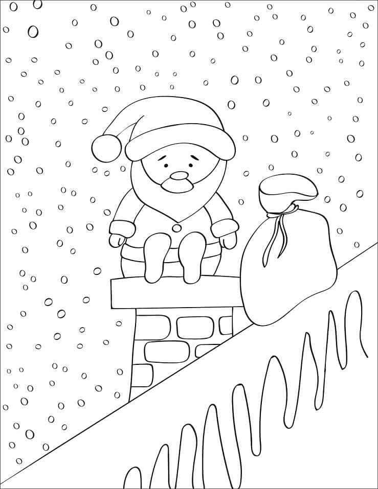 Раскраска Санта Клаус на дымоходе 1