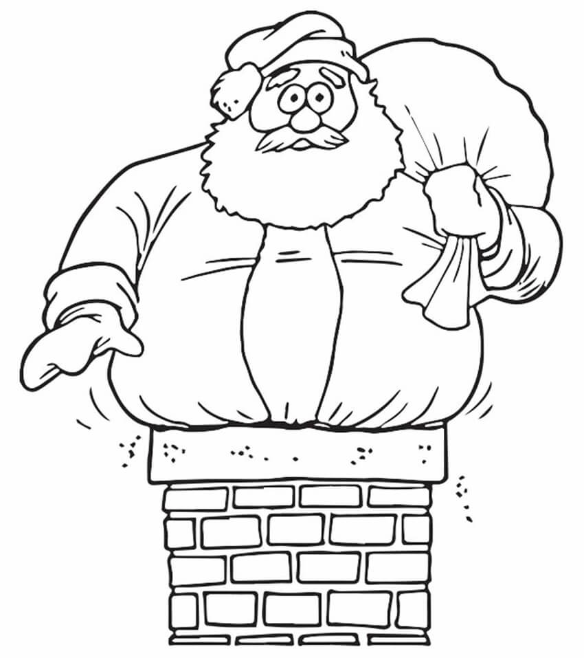 Раскраска Санта Клаус на дымоходе