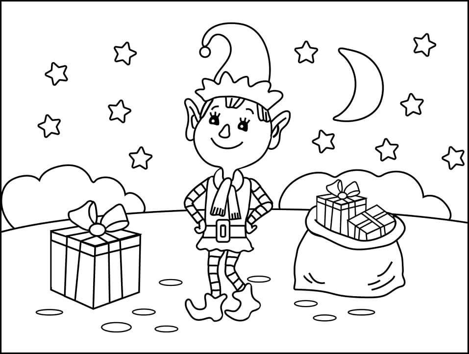 Раскраска счастливый рождественский эльф 1