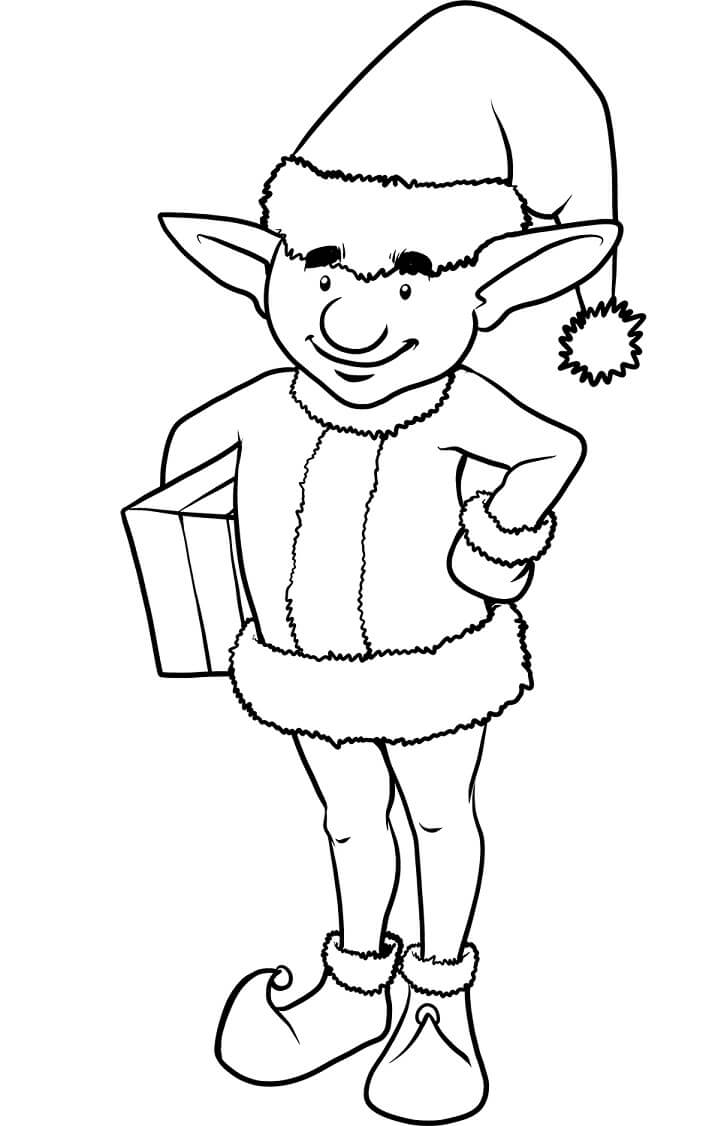 Раскраска счастливый рождественский эльф 3