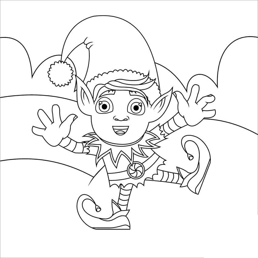 Раскраска счастливый рождественский эльф 5