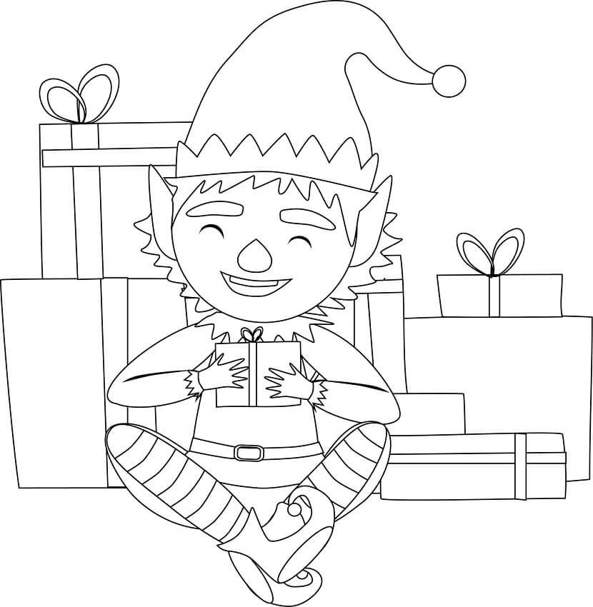 Раскраска счастливый рождественский эльф