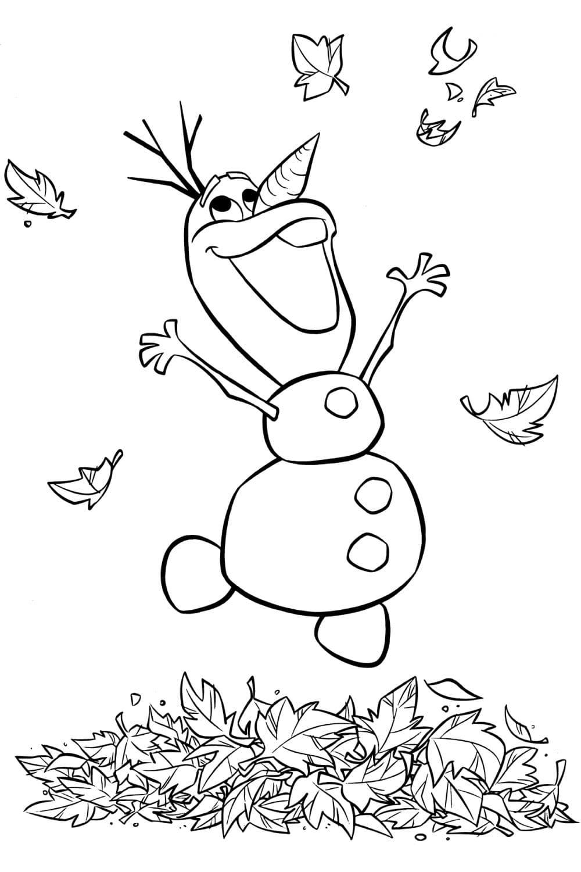 Раскраска Счастливый снеговик Олаф