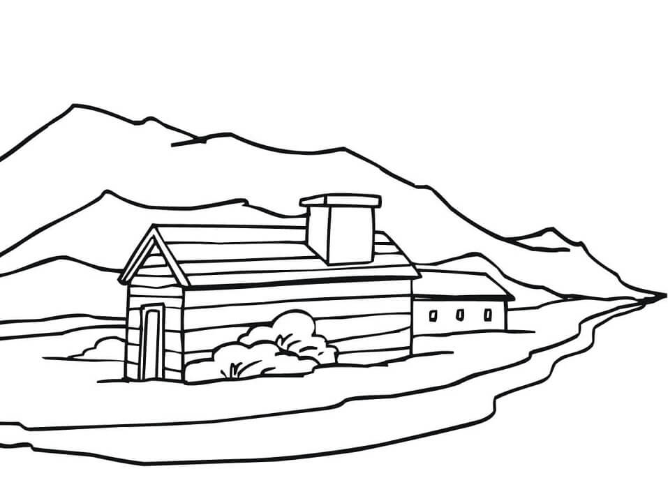 Раскраска Сельский пейзаж в Норвегии