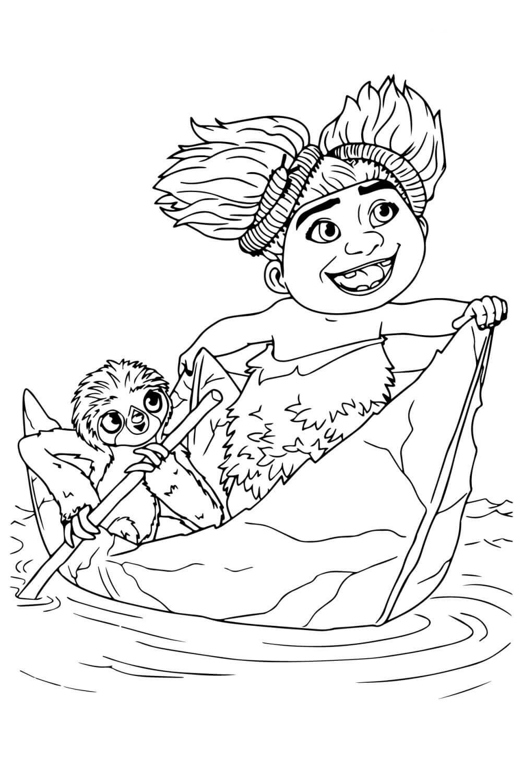 Раскраска Сэнди и Кушак из Крудс