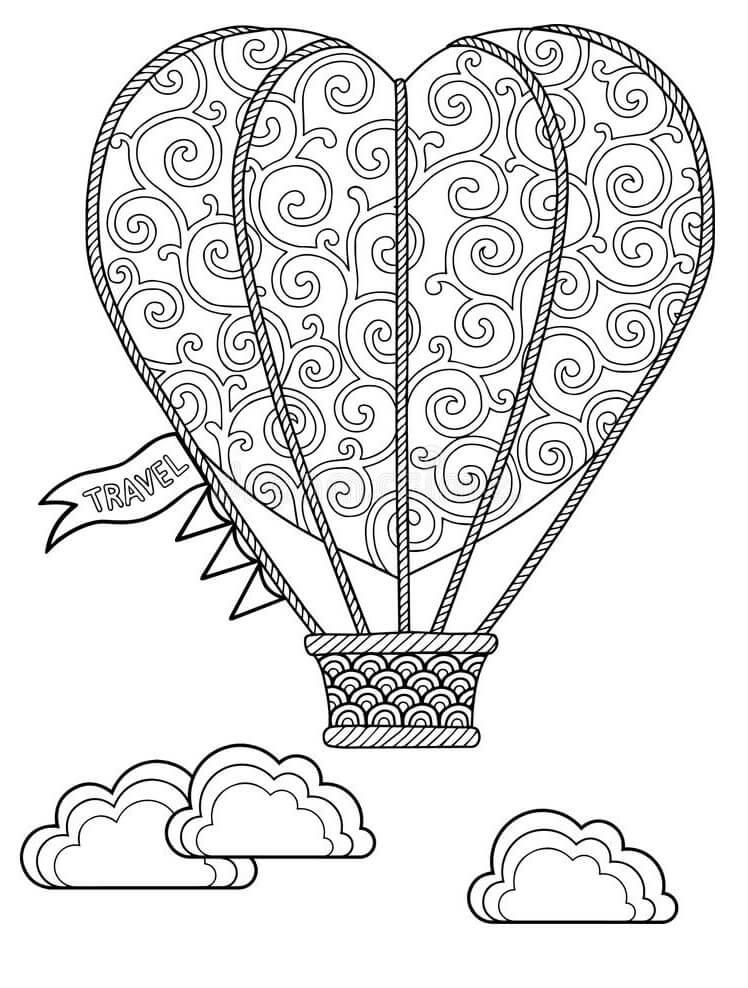 Раскраска сердце воздушный шар 1