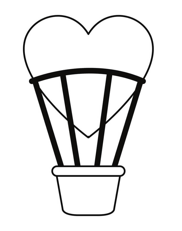 Раскраска сердце воздушный шар
