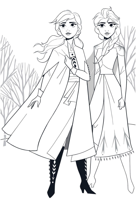 Раскраска Сёстры Анна и Эльза