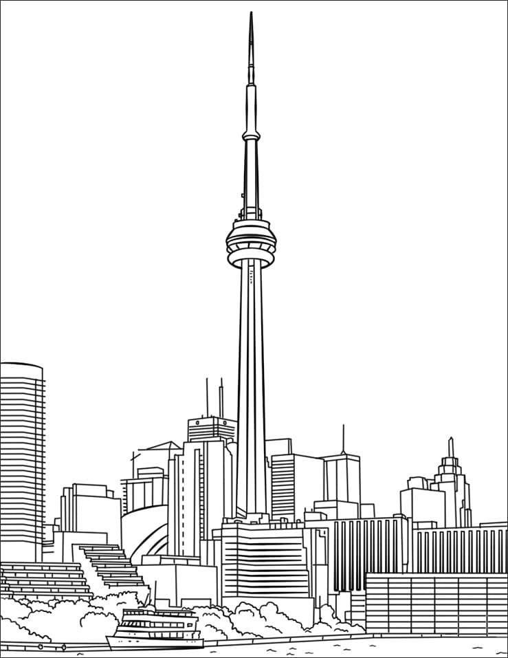 Раскраска Си-Эн Тауэр в Торонто