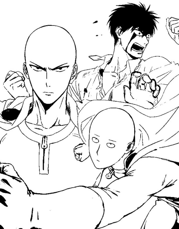 Раскраска Сильная Сайтама